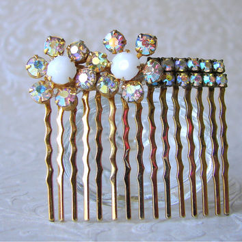 Rhinestone Hair Comb Aurora Borealis Flowers Vintage Jewelry Hairpin Jeweled Hairpiece Formal Hair Piece Pageant Ballroom Wedding Prom Bling