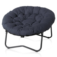 Foldable Oversized Papasan Chair in Indigo