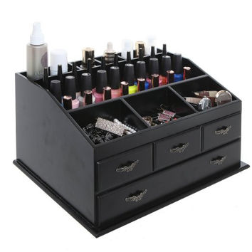Black Wood Countertop Storage Vanity Cosmetic Makeup Organizer Chest Box