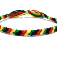 Rasta Themed Candy Stripe Pattern Embroidery Friendship Bracelet, Red/ Yellow/Green and Black Embroidery Friendship Bracelet