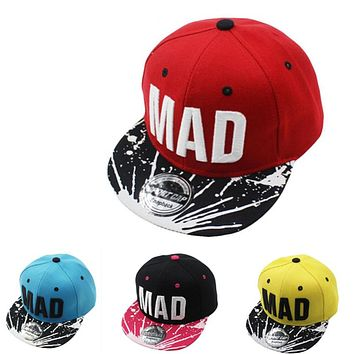 MAD Snapback Cap Children Embroidery MAD Letter Baseball Caps Kid Boys And Girls Flat Hip Hop Cap