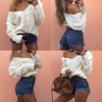 Pullover Knit Tops Twisted Ladies V-neck White Sweater [188223160346]