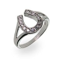 Amazon.com: Sterling Silver Cubic Zirconia Lucky Horseshoe Ring: Eve's Addiction: Jewelry