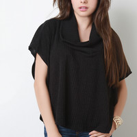 Ribbed Knit Cowl Neck Poncho Top