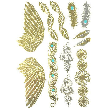 Wrapables Celebrity Inspired Temporary Tattoos in Metallic Gold Silver and Black, Large, Angel Wings_1