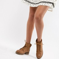 New Look Lace Up Biker Flat Ankle Boot at asos.com