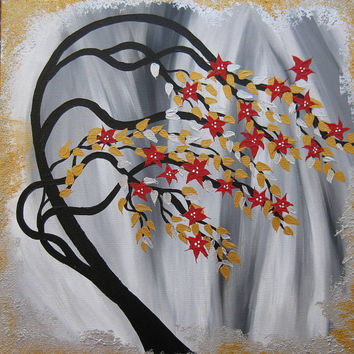 black white red gold silver gray grey zen cherry blossom painting oriental tree weeping willow flowers unique unusual metalic paint canvas