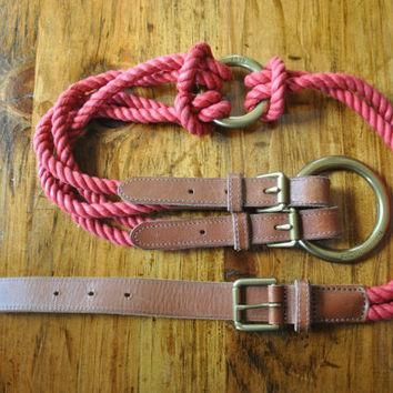 Ralph Lauren Rope and Brown Leather Belt / S-M