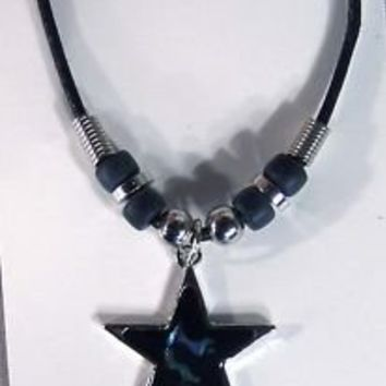 NEW SHELL STAR ROPE NECKLACE PAUA jewelry nauitical #446 MENS WOMENS novelty
