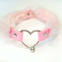 Fluffy Pink Heart Collar