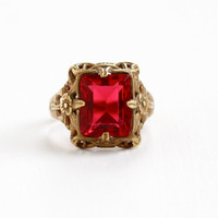 Vintage Brass Filigree Simulated Ruby Ring - Art Deco 1930s Size 5 Hallmarked Uncas Red Glass Emerald Cut Flower Motif Costume Jewelry