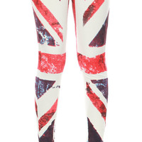Leggings Cotton Spandex - UK Flag Screen Print Leggings Stretch Pants Full Length - Light Green Fabric Code LEG16 Size M