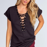 Brooke Lace Up Top - Black