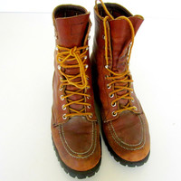 Vintage Red Wing Work Boots Union Made Leather Hunting Work Mens Brown Leather Boots