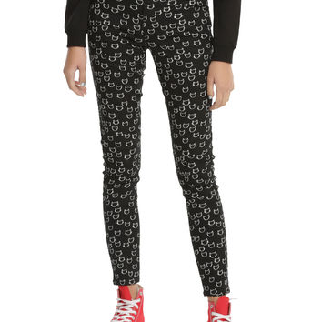 Blackheart Cat Head Print Super Skinny Jeans