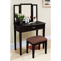 Black Finish Tri-mirror Vanity Table and Stool | Overstock.com