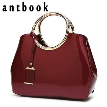 ANTBOOK High Quality Patent Leather Women Handbags Brand Designer Solid Tote Fashion Large Capacity Women Bags
