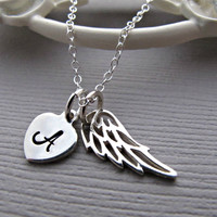 Personalized Sterling Silver Angel Wing Necklace, Small Heart  Gift For Friend, Hand Stamped Jewelry, memory keepsake jewelry