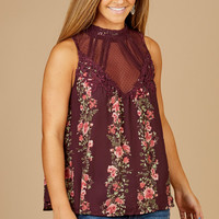 Altar'd State Plum Rose Top - Tops - Apparel