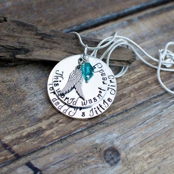 Daughter Memorial Necklace-Daughter Remembrance Gift-Mother Memorial Gift-In Memory of Daughter-Loss of a child- In memory of a child -