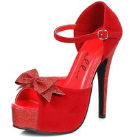 Ellie Shoes E-519-Story 5 Heel Sandal With Bow