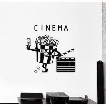 Vinyl Wall Decal Cinema Ticket Movie House Popcorn Filming Stickers Mural (g1850)