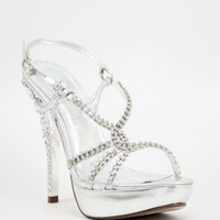 """Silver Sandals with 5"""" heels and 1.25"""" platform (Style 500-20)"""