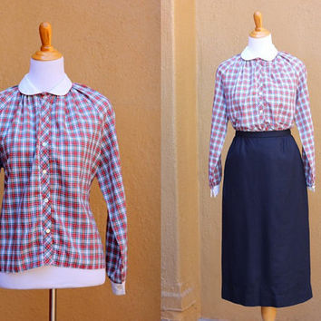 Vtg plaid blouse XL Large Plus Size peter pan collar contrasting cuffs button up Red Green Blue