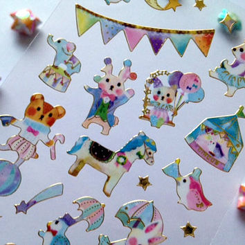Animal Circus party sticker fancy cartoon wonderland playground theme park seal label fairy tale animal masquerade party diy gift Tag gift