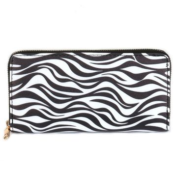 Mulit Color Zebra Print Vinyl Clutch Wallet Bag Accessory