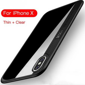 MSV Case for iPhone X cover back silicon shockproof ultra clear hard soft 2 in 1 coque for iPhone X case Transparent case capa