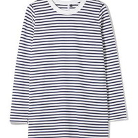 Striped Long Sleeve Tee Dress by Boutique - Stripes