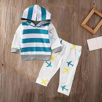 Organic Airplane Newborn Baby Boy Girl Cloth Tops T-shirt Pants 2Pcs Outfits Set