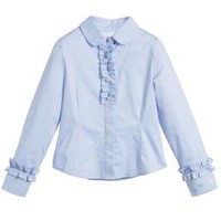 Girls Blue Frilled Blouse