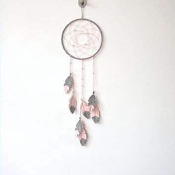 Pink Grey DreamCatcher, Dream Catcher Wall Hanging, unique dream catcher, Girl Nursery Decor, Baby girl nursery wall decor