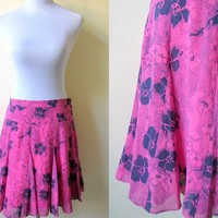 Pink and Blue Floral Godet Skirt: hot pink skater skirt, 30 inches