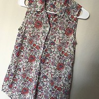 NWOT H&M Chiffon Floral Button Up Tank Size 2
