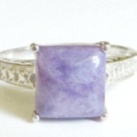 Vintage Sterling Silver Chalcedony Square Ring Size 7