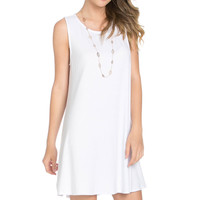 Sleeveless Swing Dress White