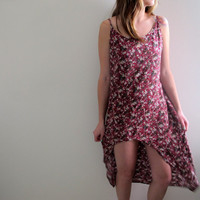Hi Lo High Low Dress Floral Print Womens Size Medium Long Short Sundress Flowers Red Pink Babydoll Grunge Style Summer Festival Country