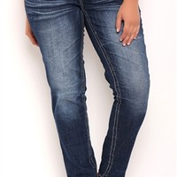 Plus Size Amethyst Skinny Jean with Crinkles and Embroidery