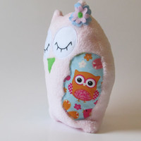 Plush, Pink Baby Whisper Fleece, Stuffed Owl. Soft and Cuddly, Sweet Sleepy owl with her own little poem!