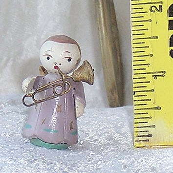 1950 Miniature Wood Angel, Small Christmas Angel, Angel Playing Instrument, Purple Lavender Angel Playing a Horn, Collectors Angel