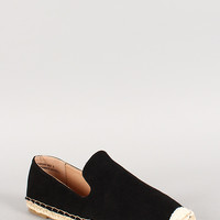 Bamboo Faux Suede Espadrille Skimmer Loafer Flat