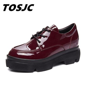 TOSJC 2018 Spring High Quality Women Oxfords Flats Platform Shoes Patent Leather Creeper Brogue Loafers Shoes