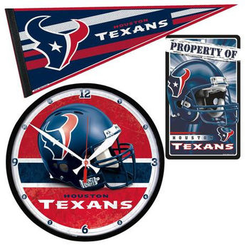 Houston Texans Ultimate Clock, Pennant and Wall Sign Gift Set