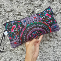 Embroidered Hmong Flora Wallet Hand Clutch Bags Gypsy Folk Style Retro Long Purse Embroidery Wristle Cellphone Cosmetic Pencil Case Hippies