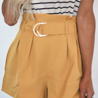 Mustard Belted Shorts