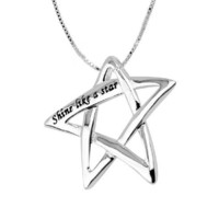 """Sterling Silver """"Shine Like A Star"""" Star Pendant Necklace, 18"""""""