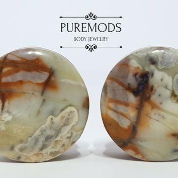 """Natural Stone Plugs 7/8"""" (22mm)"""
